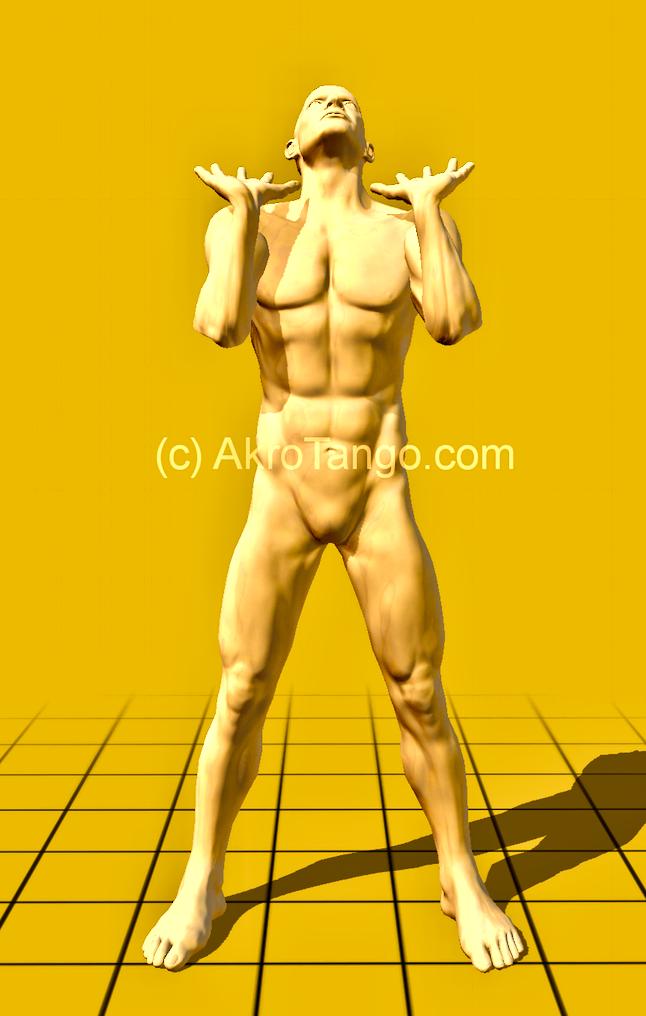 standing - on angled arms